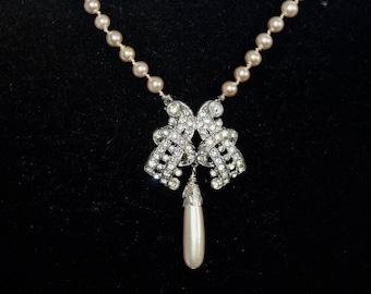 Vintage Pearl Necklace, Wedding Necklace, Vintage Rhinestone Clasp, Genuine, Champagne, Teardrop, Choker, OOAK, Jennifer Jones - Lovely Rita