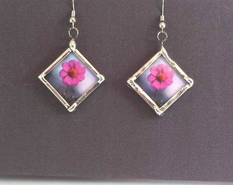Pink Zinnia Flower Earrings, Dangle Earrings; Simple Elegance; Gift Wrapping Available