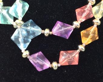 Translucent Pastel Lucite Bicone Beaded Necklace