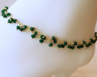 Emerald Ankle Bracelet, Emerald Bracelet, Anklet, May Birthstone, Beach Jewelry, Emerald Anklet, Mother's Day