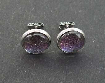 Nail Polish Stud Earrings - Holographic Multichrome/Colour-Shifting - Dragon Tears