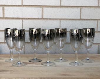 Set of 7 vintage silver ombré champagne flutes - Vitreon Queen's Lustreware - Mercury Fade