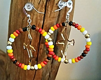 Beaded Earrings-Hoop Earrings-NDN-American Indian-Bird-Regalia