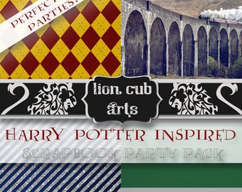 MEGA Harry Potter Party, Planner Sticker, Commercial Use, Potter Printable, 23 High Res 12x12 Pages 300 DPI + 60 Items, Harry Potter Theme
