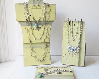 Your Choice - Yellow Barn Wood Necklace Bust / Small Necklace Display / Flat Display - Collapsible Jewelry Display