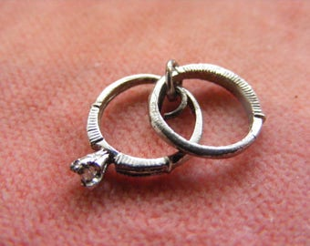 B) Vintage Sterling Silver Charm wedding & engagement ring