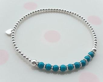 Turquoise Bracelet/Turquoise Bead Bracelet/December Birthstone/Turquoise Jewellery/Gemstone Bracelet/Blue Stone Bracelet/Bohemian Jewelry