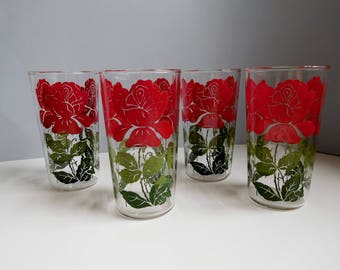 Vintage Swanky Swigs drinking glasses 1950s rose Swanky Swigs glasses