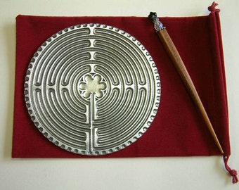 DT-LAB  Solid Handcrafted Pewter Labyrinth - Personal Chartres Labyrinth