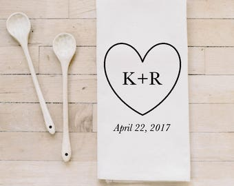 Tea Towel- Personalized Initials Heart & Date, Made in the USA, housewarming gift, wedding favor, kitchen decor, calligraphy design