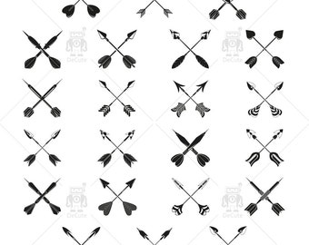 Tribal Cross Arrow Clipart, Archery, Instant Download Vector