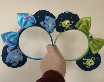 Mike and Sulley (Monsters Inc) inspired Mickey/Minnie Disney ears