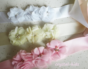 Pink White Ivory Chiffon Flower Satin Sash Christening Sash Flower Girl Bridesmaid Sash HANDMADE