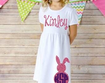 Easter Dress -- Bunny Dress -- Glitter Dress -- Monogrammed Dress -- Spring Break -- Easter Outfit -- Bunny Outfit -- Spring Dress