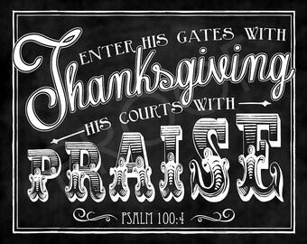 Thanksgiving Scripture Chalkboard Art - Psalm 100:4