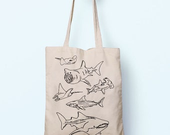Shark Illustration Sea Animals Cotton Shopper Tote Free ShippingBag Shopping Gym Books Tumblr Funny Joke Boy Girl Sack Cotton Gift