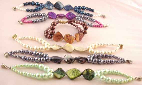 Shell and Faux Pearl Bracelet