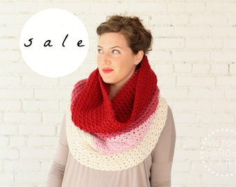SALE | LAST ONE! | The Ombré Cowl | Geranium | Chunky Knit Ombré Oversized Huge Textured Winter Cowl Scarf