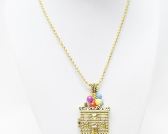 Gold Plated Book Locket Pendant Necklace