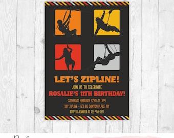 Zip line invitation zip line party zipline birthday zipline invitation zipline birthday invitation printable zip line party invitation girl zip line birthday invite boy stopboris Gallery