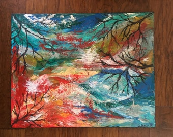 Scratching the Surface, abstract landscape, abstract nature, abstract expressionist painting, bright colors, postive energy, healing