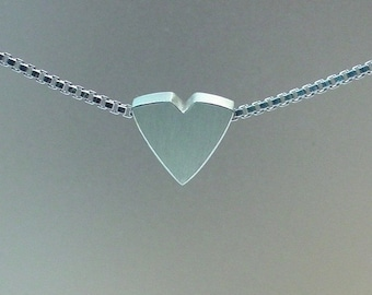 Modern Heart Necklace -Sterling Silver- Silver Heart- Made to order