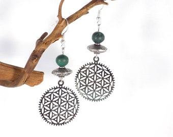Silver Earrings Rosace Gearing Green Malachite Bead