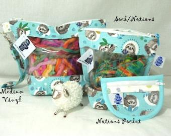 Sleepy Sloths  Knitting Project Bag, Zippered Project Bag, Knitting Wedge Bag, Vinyl Front Bag, Yarn Tote Bag, Yarn Bag, Knitting bag,