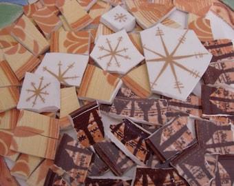 100 Mosaic Tiles Mix Broken Plate Art Vintage Retro Browns Atomic Starburst Mix