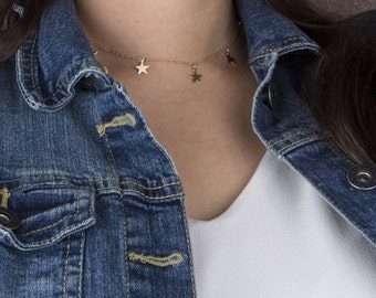 Star Choker, Gold Tiny Star Choker Necklace, Gift for Her, Dainty Gold Choker, Silver Choker Necklace, Silver Star Choker, Simple Choker