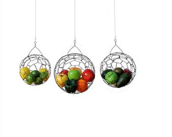Hanging Wire Baskets,  Wire Basket, Fruit basket, Sphere, Country Style, Rustic