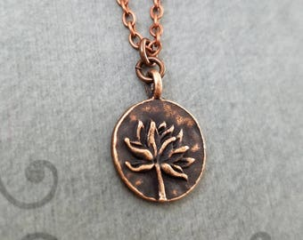 Lotus Necklace SMALL Copper Lotus Flower Necklace Charm Necklace Pendant Yoga Jewelry Meditation Jewelry Buddhist Jewelry Hindu Jewelry