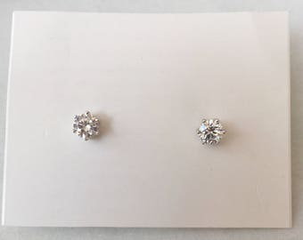 Diamond Studs | Sterling Silver Studs | Everyday Jewellery | Simple Earrings | Diamond Earrings | Minimalist Jewelry | Crystal Stud Earrings
