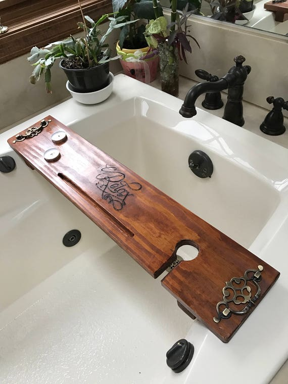 Bath Caddy Bath Tray Wine Holder Rustic Bathroom Decor