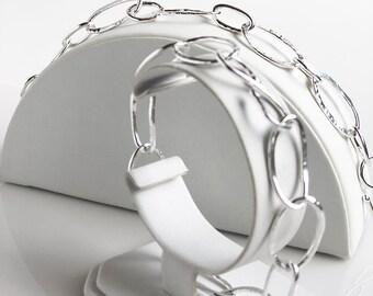 Organic Oval Fine Silver Bracelets