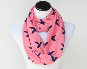 Bird infinity scarf pink navy blue seagull birds soft jersey knit scarf for women and teenage girl - loop scarf snood scarf