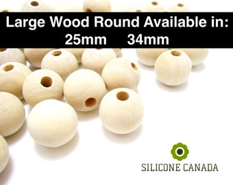 Large Round Natural Wood Beads in 25mm/34mm