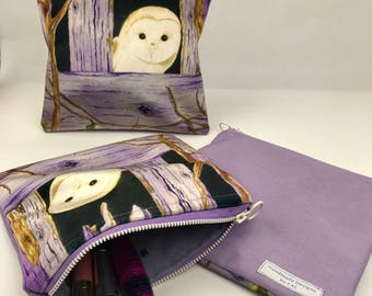 Velvet Owl Make-up Bag