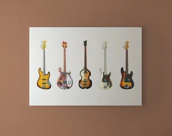 Famous Bass Guitars CANVAS PRINT