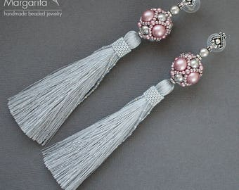 "Beaded earrings tassel earrings beadwork earrings beadwoven earrings bead earrings bead weaving earrings long beaded earrings ""Gray + Pink"""