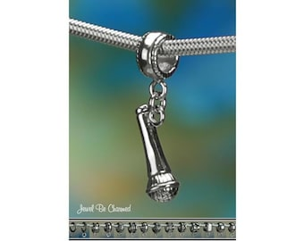 Sterling Silver Microphone Charm or European Style Charm Bracelet .925