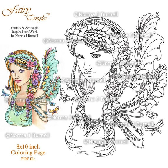 fairy tangles printable coloring pages by norma j burnell