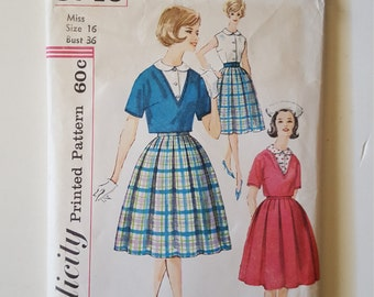 Simplicity 3746, Size 16, Bust 36, UNCUT, Full Skirt, Sleeveless Blouse,Short Lined V Neck Pullover Jacket, Kimono Sleeves, Retro 60's
