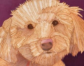 Poodle Mix, Bichon Mix, Dog Art, Dog Print, Collograph Print - Mortimer 1