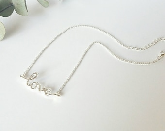 Love choker, silver choker, chain choker, simple choker, choker necklace, gifts for her, best friend gift, bff gift, layering necklace