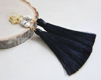 Tassel Earrings, Boho Earrings, Bohemian Earrings, Howlite Earrings,Long Tassel Earrings,Boho Chic Earrings,Festival Earrings,Gypsy Earrings