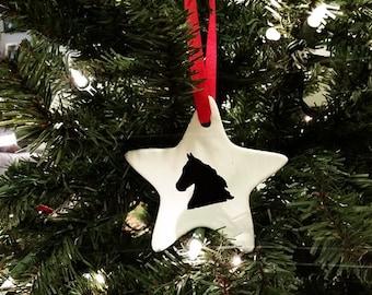 Hand Painted Horse Head Ceramic Christmas Tree Ornament
