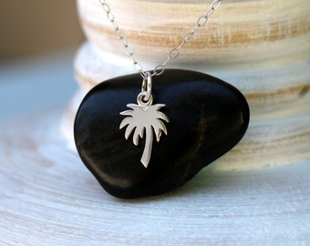 Palm Tree Necklace, Sterling Silver Palm Tree Necklace, Tiny Palm Tree Necklace, Beach Necklace, Tropical Necklace, Beach Jewelry, Palm Tree