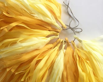 YELLOW OMBRE tissue paper tassel twin first birthday party bumble bee newborn photo decorations baby bridal shower my sunshine high chair