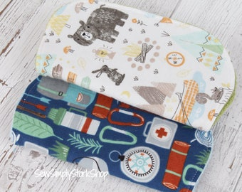 Modern Burp Cloths | Camping Theme | Burp Cloth Set | Unique Baby Gift